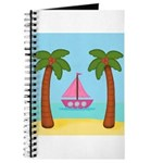 Pink Sailboat on a Beach Journal