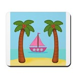 Pink Sailboat on a Beach Mousepad