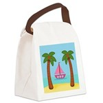 Pink Sailboat on a Beach Canvas Lunch Bag