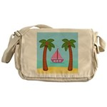 Pink Sailboat on a Beach Messenger Bag