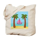 Pink Sailboat on a Beach Tote Bag