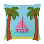 Pink Sailboat on a Beach Woven Throw Pillow