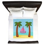 Pink Sailboat on a Beach King Duvet