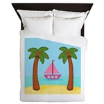 Pink Sailboat on a Beach Queen Duvet