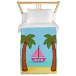 Pink Sailboat on a Beach Twin Duvet