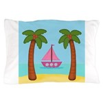 Pink Sailboat on a Beach Pillow Case