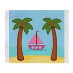 Pink Sailboat on a Beach Throw Blanket