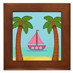 Pink Sailboat on a Beach Framed Tile