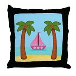 Pink Sailboat on a Beach Throw Pillow