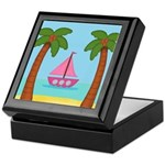 Pink Sailboat on a Beach Keepsake Box