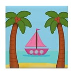 Pink Sailboat on a Beach Tile Coaster