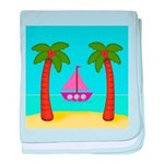 Pink Sailboat on a Beach baby blanket