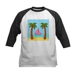 Pink Sailboat on a Beach Baseball Jersey