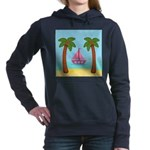 Pink Sailboat on a Beach Women's Hooded Sweatshirt