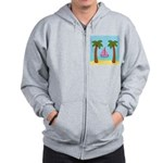 Pink Sailboat on a Beach Zip Hoodie