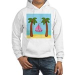Pink Sailboat on a Beach Hoodie