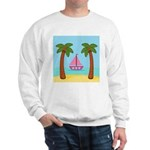 Pink Sailboat on a Beach Sweatshirt