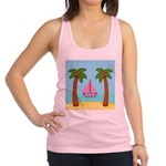 Pink Sailboat on a Beach Racerback Tank Top