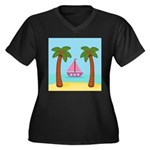 Pink Sailboat on a Beach Plus Size T-Shirt
