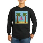 Pink Sailboat on a Beach Long Sleeve T-Shirt