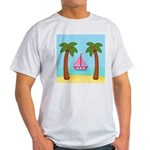 Pink Sailboat on a Beach T-Shirt