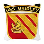 USS GRIDLEY Woven Throw Pillow