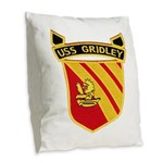 USS GRIDLEY Burlap Throw Pillow