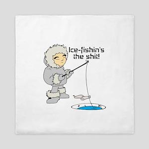 Ice-Fishin's the Shit! Queen Duvet