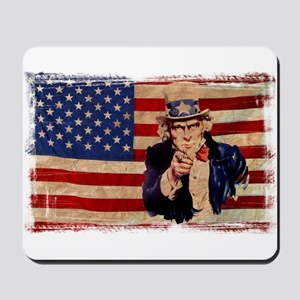 Uncle Sam Pointing Retro Distressed Mousepad