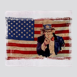 Uncle Sam Pointing Retro Distressed Throw Blanket