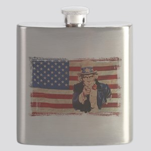 Uncle Sam Pointing Retro Distressed Flask