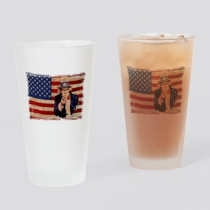 Uncle Sam Pointing Retro Distressed Drinking Glass