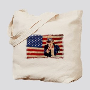Uncle Sam Pointing Retro Distressed Tote Bag