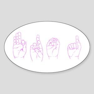 Pink ASL FROG Oval Sticker