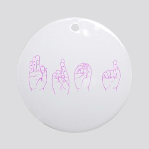 Pink ASL FROG Ornament (Round)