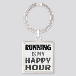 Running Is My Happy Hour Square Keychain