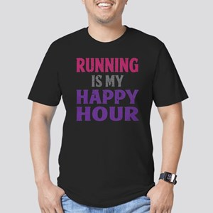 Running Is My Happy Ho Men's Fitted T-Shirt (dark)