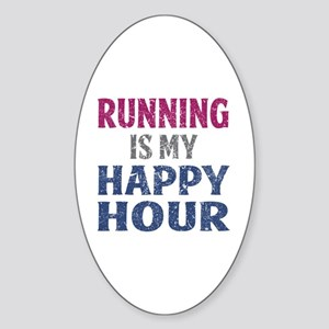 Running Is My Happy Hour Sticker (Oval)
