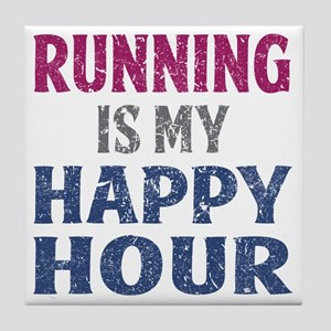 Running Is My Happy Hour Tile Coaster
