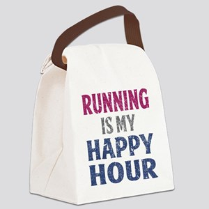 Running Is My Happy Hour Canvas Lunch Bag