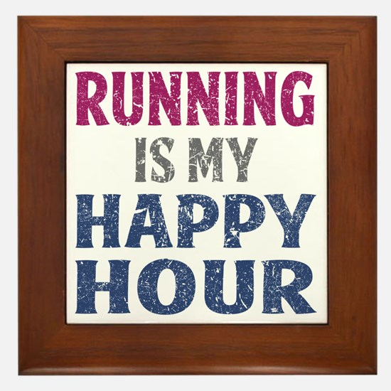 Running Is My Happy Hour Framed Tile