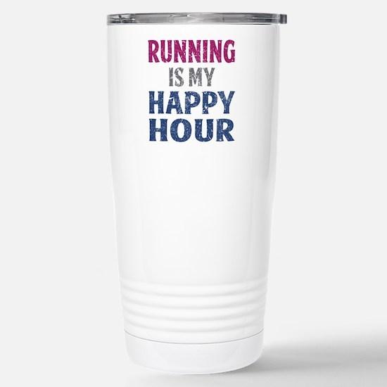 Running Is My Happy Hou Stainless Steel Travel Mug