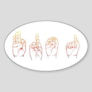 Sunset ASL FROG Oval Sticker