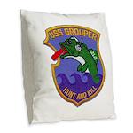 USS GROUPER Burlap Throw Pillow