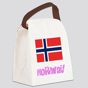Norway Flag Pink Flower Design Canvas Lunch Bag