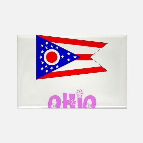 Ohio Flag Pink Flower Design Magnets