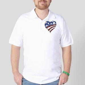 Distressed American Flag Heart Golf Shirt