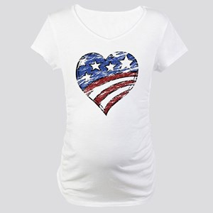 Distressed American Flag Heart Maternity T-Shirt