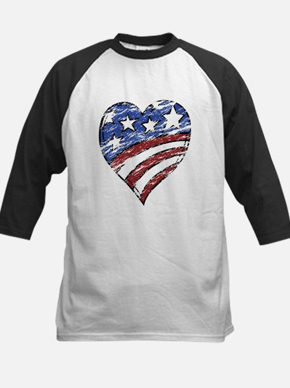 Distressed American Flag Heart Baseball Jersey