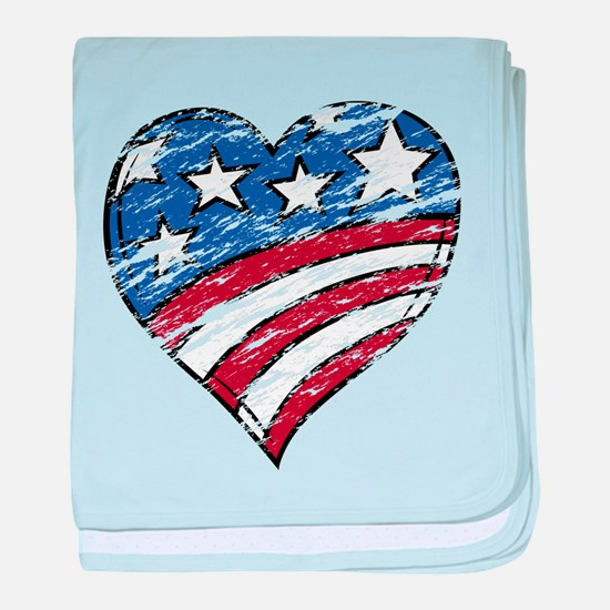 Distressed American Flag Heart baby blanket